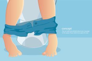 persona sentada en el inodoro con sufrimiento de estreñimiento o diarrea ilustración vectorial