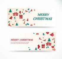 impostare il biglietto di auguri di Natale con disegni di banner sfondo modello spazio