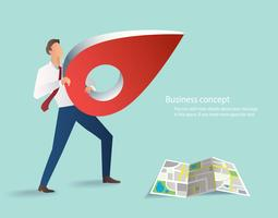 businessman holding pin icon, red location icon with map vector illustrations