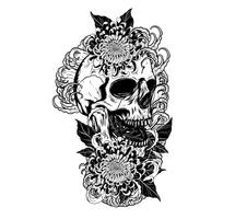 Skull with chrysanthemum tattoo by hand drawing