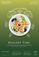 Ejemplo vegetal del vector de la plantilla del diseño del cartel de la comida orgánica de la ensalada