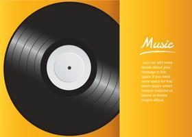 disque vinyle avec vecteur de fond de couverture jaune maquette