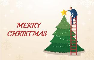 a businessman hold a star with Christmas tree and space for text background