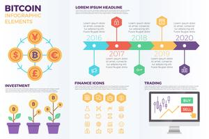 Bitcoin cryptocurrency infographic elementen