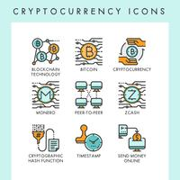 Cryptocurrency pictogrammen concept illustraties