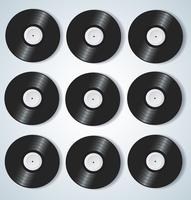 Discos de vinilo fondo musical ilustración vectorial