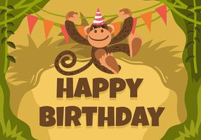 Happy Birthday Animal Monkey vector