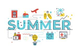 Summer word lettering illustration