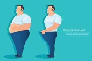 concetto di carattere sovrappeso, illustrazione vettoriale grasso della pancia