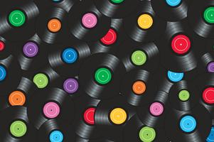colorful vinyl records with yellow background vector illustration