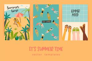 Vector templates with fun summer illustration.