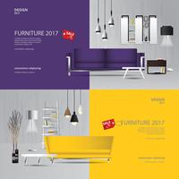 2 Banner Furniture Sale Design Template Vector Illustration
