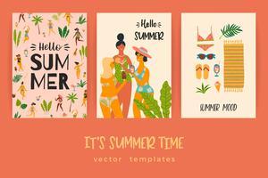 Vector sjablonen met leuke zomer illustratie.