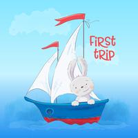 Poster cute little hare floats on a boat. Cartoon style. Vector