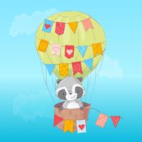 Poster cute raccoon flying in a balloon. Cartoon style. Vector
