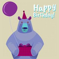 Happy Birthday Greeting Card With Cartoon Bear Illustration