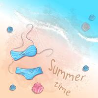 Poster beach accessories on the sand. Vector illustration