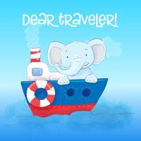 O elefant pequeno bonito do cartaz flutua em um barco. Estilo dos desenhos animados. Vetor