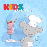 Poster simpatico topo e cocktail di frutta. Stile cartone animato Vettore