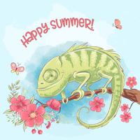 Poster cute chameleon on a branch and flowers. Cartoon style. Vector