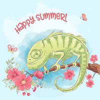 Poster caméléon mignon sur une branche et des fleurs. Style de bande dessinée. Vecteur