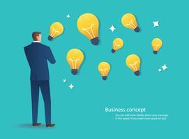 uomo d'affari che sta con l'illustrazione di vettore di concetto di idea della lampadina