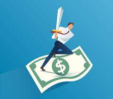 businessman holding sword on money bills. business concept vector illustration