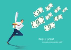 Geschäftsmann, der das Schwert läuft zur Geldrechnungsvektorillustration hält