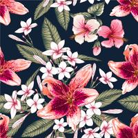 Seamless floral pattern pink pastel color Hibiscus,Frangipaniand Lilly flowers on isolated dark blue background.Vector illustration watercolor hand drawn doodle.