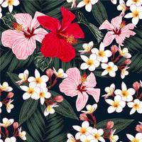 Seamless blommönster mönster gröna palmblad, Röd och rosa pastellfärg Hibiskus, vita Frangipani-blommor på isolerad svart bakgrund. Vector illustration akvarell handritad klotterstil.