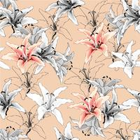 Seamless pattern vintage pink lilly flowers on pastel background.Vector illustration watercolor style.For used wallpaper design,textile fabric or wrapping paper