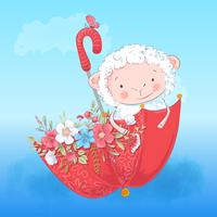 Poster cute lamb umbrella and flowers. Vector illustration. Cartoon style