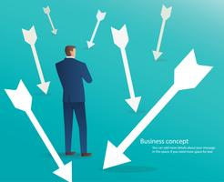 businessman standing with arrows around him , business concept background