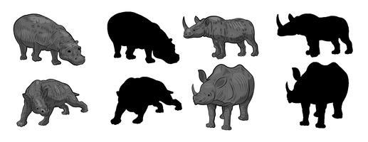 Silhouette di rinoceronti