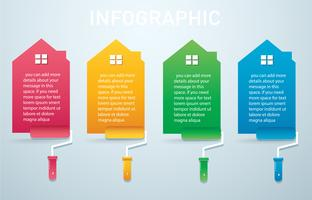 colorful house with a paint roller Infographic 4 options background vector illustration