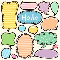 Cartoon words label cute doodle