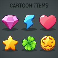 Cartoon items Different symbols asset GUI elements for casual mobile game