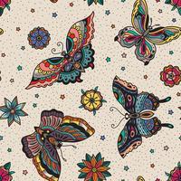 Tätowierungs-Blitzschmetterlinge der Weinleseart traditionelle und nahtloses Muster der Blumen