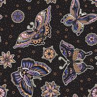 Vintage stil traditionell tatuering flash fjärilar och blommor sömlösa mönster