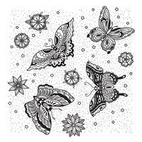 Samling av fjäril och blomstatuering i gammal skola stil.