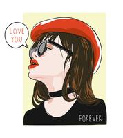 love you forever with girl in red hat illustration