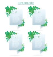 cute green clover leaf info graphic background vector illustration