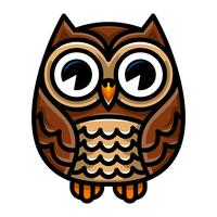 Cute Cartoon Owl Bird with Big Eyes in Sitting Position