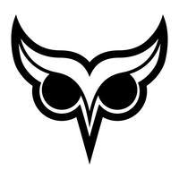 Logo dell'uccello del gufo con i grandi occhi e le sopracciglia nel vettore nero