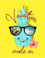 vakantiemodus slogan met ananasillustratie