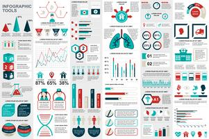 Medicinska infografiska element data visualisering vektor design mall. Kan användas för steg, alternativ, arbetsflöde, diagram, flödesschematkoncept, tidslinje, hälsovårdsikoner, forskning, informationsgrafik.