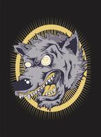 Desenho de mão do lobo bravo Face.vector