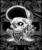 Skallehuvudet bär bandana och hatt, för t-shirtdesigns konstverk, konsttryck eller grafisk grafisk grafisk grafik som behövs - Vektor