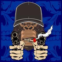 Vectorillustratie van gespierde aap bedrijf geweer en pistool met grote glimlach en sigaar. - Vector
