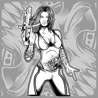 sexy Frau, die einen Gewehrhandzeichnungsvektor hält